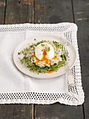 Poached egg with ham salad and bean sprouts