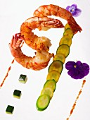 Fried prawns with courgettes