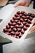 A box of heart-shaped pralines (industrial)