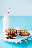 Muesli biscuits and a bottle of milk