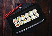 Sushi rolls seen from above (Japan)