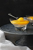 Mango cream in a glass dish