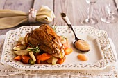 Larded pheasant breast on carrot medley with apple sauce