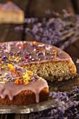 Lavender cake, sliced