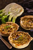 Mini quiches with lavender flowers and fennel