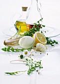 Ingredients for dandelion salad with vinaigrette