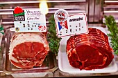 Entrecote and beef fillet in a display counter