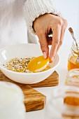Muesli with fresh orange slices