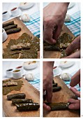 Making stuffed vine leaves