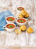 Cream of tomato soup with sausage muffins