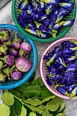 Aubergines, blue edible flowers and kaffir lime leaves