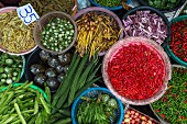 A colourful vegetable stand, Thailand