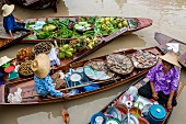A floating market in Bangkok, Thailand