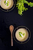 Cream of celery soup with mushrooms