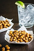 Wasabi peas and a gin and tonic