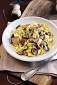 Tagliatelle with porcini mushrooms, garlic and parsley