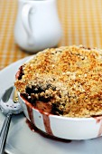 Rhubarb and apple crumble in a baking dish
