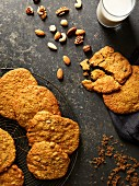 Ginger biscuits with milk and nuts