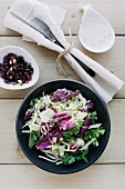 A mixed leaf salad with radicchio and Parmesan