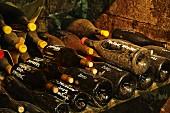 Verschiedene Cuvees im Weinkeller der Domaine Ganevat, La Combe, Rotalier, Jura, Frankreich