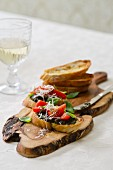 Bruschetta with a trio of tomatoes and tapenade