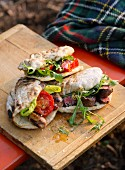 Steak and sausage sandwiches for a picnic