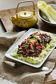 Fried beef with Sichuan pepper and chilli peppers (Asia)