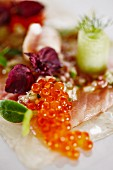 Sashimi with keta salmon caviar
