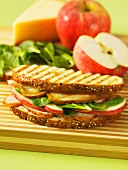 A toasted chicken, apple and smoked cheese sandwich