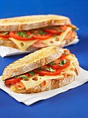 A toasted sandwich with salmon, Gruyere and tomatoes