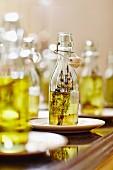 Various bottles of oil for tasting