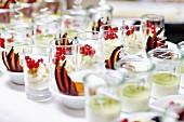 Various creamy desserts on a buffet