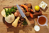 Ingredients for root vegetable soup