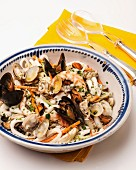 Seafood salad with mussels, prawns, clams and squid