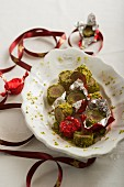 Christmas confectionery made with marzipan and pistachios nuts