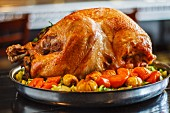 Thanksgiving turkey with carrots and chestnuts