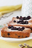 Financiers made with almond flour and blackcurrants for Easter
