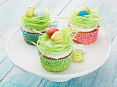 Vanilla cupcakes with Easter decorations