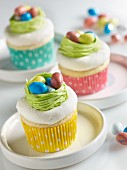 Cupcakes decorated with Easter nests