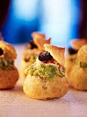 Profiteroles with avocado cream