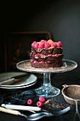 Dunkle Schokoladen-Himbeer-Torte auf Tortenständer