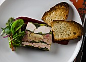 Chicken and ham terrine with mushrooms