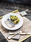 Poached salmon with herb potatoes and a ricotta dip