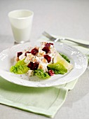 Chicken salad with turnips and beetroot