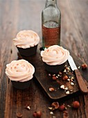 Hazelnut cupcakes decorated with buttercream