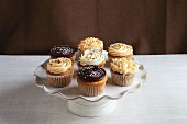 Vanilla cupcakes with various types of buttercream