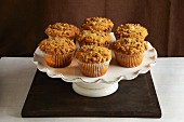 Cinnamon muffins on a cake stand