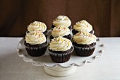 Chocolate cupcakes decorated with buttercream on a cake stand