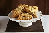 Maple syrup scones on a cake stand
