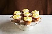 Lemon cupcakes on a cake stand